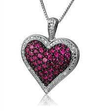 ruby diamonds necklace images Created ruby and diamond puffed heart pendant jpg