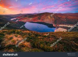 colorful morning lough tay wicklow moutanis stock photo 559896406