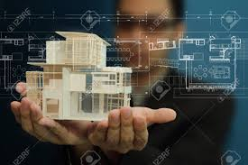 House Models And Plans Businessman Present House Model And Plan On Touch Screen Stock