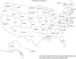 United States Map With States And Capitals Labeled by United States Labeled Map Blank Outline Map Of United States Of