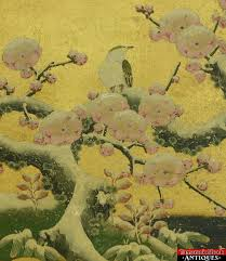 cherry blossom tree vtg original japanese painting gold leaf bird snow covered cherry