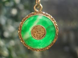 jade with gold necklace images Antique chinese green jade jadeite gold necklace pendant 270596 jpg