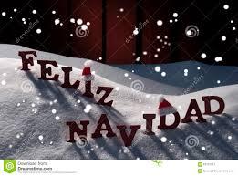 feliz navidad christmas card card with santa hat snowflakes feliz navidad christmas stock