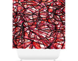 Red Black Shower Curtain Red Shower Curtain Etsy