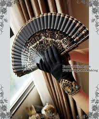 black lace fan retro black lace gloves