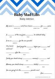 free baby mad libs baby advice baby shower ideas themes