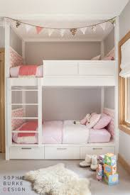 Pink And Grey Girls Bedroom White Bunk Beds With Pink Pillows Transitional U0027s Room