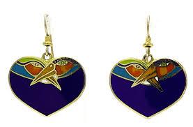 laurel burch earrings vintage laurel burch blue heart birds earrings