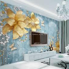 luxury golden flower wallpaper custom 3d wallpaper for walls luxury golden flower wallpaper custom 3d wallpaper for walls crystal elk wall mural bedroom hotel beauty salon wedding party room decor blue wallpaper
