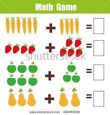 mathematics educational game children learning addition stock