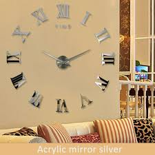 diy large 3d wall clock mirror sticker metal watches roman numeral