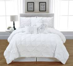 King Size White Coverlet 7 Pc White Tufted Pinch Pleat Queen Comforter Set Bed In A Bag
