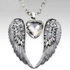 silver crystal pendant necklace images Antique silver quot angel wings crystal quot pendant necklace blown biker jpg