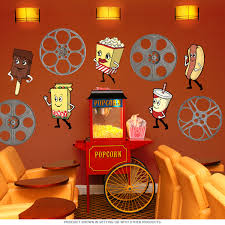 home theater decor dancing snacks cutout wall decal set home theater decor