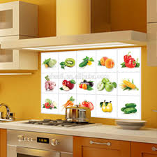 Tile Stickers For Kitchen 3019 Removable Fruit Vegetables Pattern Anti Oil Wall Decals