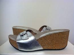 Silver Comfort Sandals Cordani Aries Silver Leather Women U0027s Wedge Heels Sandals Size 35