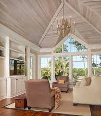 stained beadboard ceiling family room beach style with vaulted