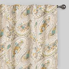 Paisley Curtains Gray And Aqua Paisley Concealed Tab Top Curtains World Market