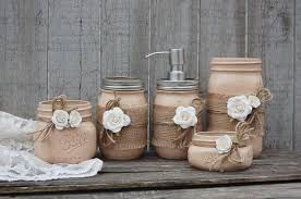Shabby Chic Bathroom Accessories Sets Mason Jar Bathroom Set Earth Tones Neutral Brown Shabby Chic
