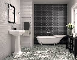 classic subway tile bathtub surround midcentury bathroom