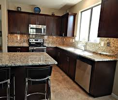 kitchen marble backsplash black quartz countertops with island