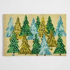 Holiday Doormat Green Trees Holiday Doormat World Market