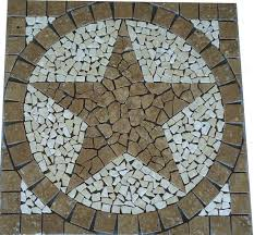 square noce brown marble texas star mosaic medallion backsplash