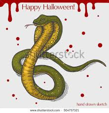 vector linear illustration scary snake blood stock vector