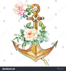 anchor with roses drawing image tips