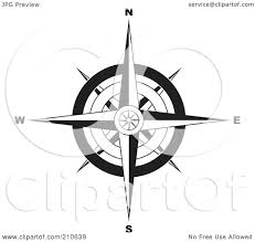 royalty free rf clipart illustration of a colorful compass rose