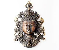 Tibetan Home Decor Brass Tara Mask Wall Hanging Tibetan Home Decor 8 5 Inch Ebay