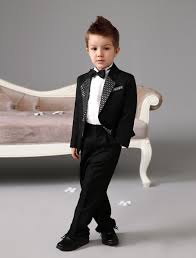 luxurious black ring bearer suits cool boys tuxedo with sequins