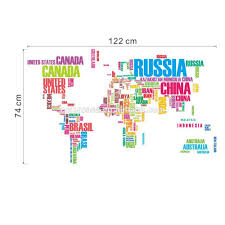 France World Map Colorcasa Colourful World Map Wall Sticker 3d World Map Wall Decal