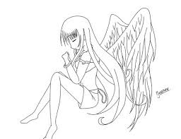 anime angel lineart thegirloutaname deviantart 130866 coloring