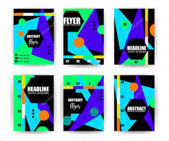 abstract background set geometric lines and shapes for flyers