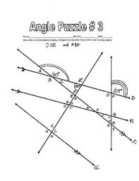 lines cut by a transversal printable missing angle worksheets w key