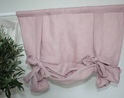 Tie Up Valance Kitchen Curtains Tie Up Curtain Etsy