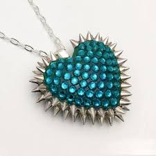 zircon blue necklace images Mini spiked paved heart necklace in blue zircon bunny paige jpg
