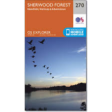 map of sherwood forest os explorer map 270 mansfield worksop