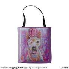 reusable shopping tote bag with dog design jodesigns zazzle