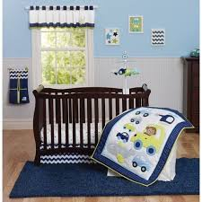 Crib Bedding Boy S 30 P Set Crib Bedding Boy Monkey Cars Planes Green Blue