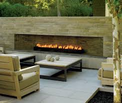 three sided gas patio contemporary with stone fireplace surround
