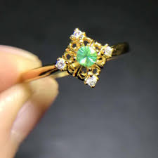 emerald stones rings images Small retro square hollow natural green emerald gem ring s925 jpg
