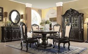 Matteo  Round Marble Top Gothic Pc Dining Set In Ebony - Gothic dining room table