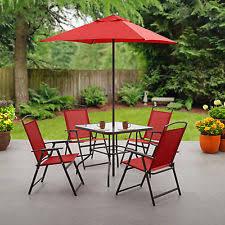 6piece folding patio set outdoor chairs table umbrella furniture