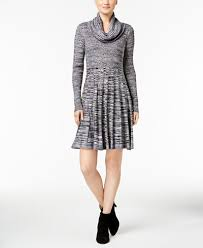 calvin klein cowl neck fit flare sweater dress dresses
