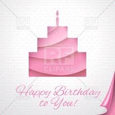happy birthday greeting card with abstract pink cake vector