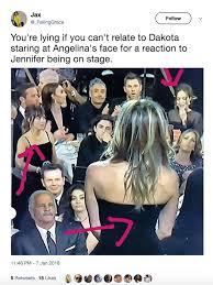 Angelina Jolie Meme - dakota johnson is all of us watching angelina jolie avoid jennifer