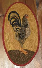 Rooster Rugs For The Kitchen Primitive Rooster Rug Hooking Pattern Rug Hooking Ideas