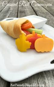 crescent roll cornucopias with vegetables and dip a thanksgiving